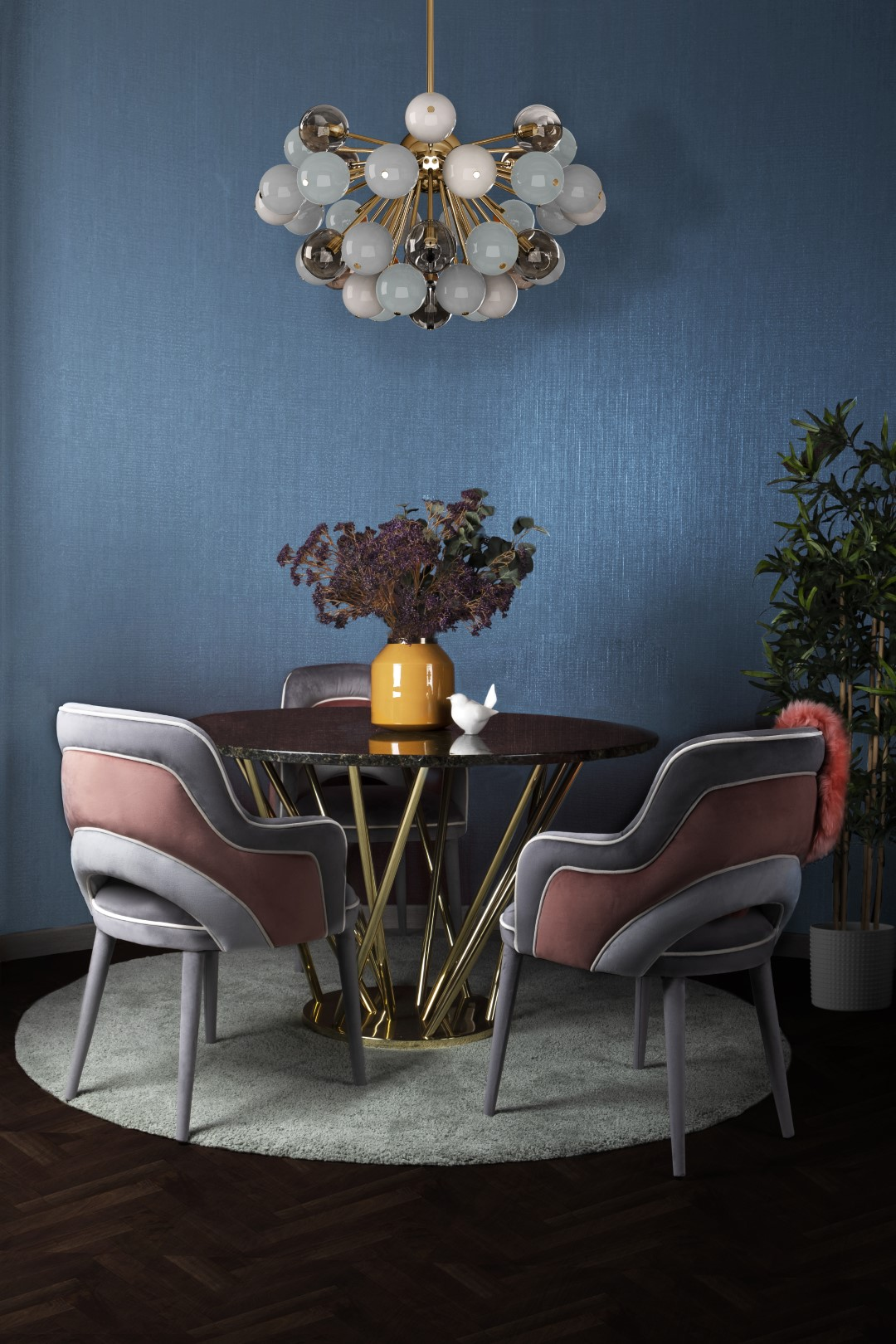 Ottiu's Charisse Dining Chair, Neula dining table by Malabar and Berries Suspension Lamp by Creativemary