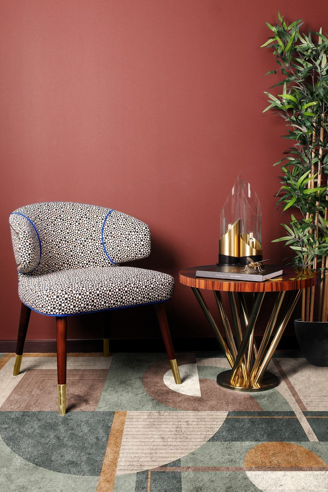 Ottiu's Tippi Dining Chair, Nebula side table by Malabar and Creativemary's Bamboo Table Lamp