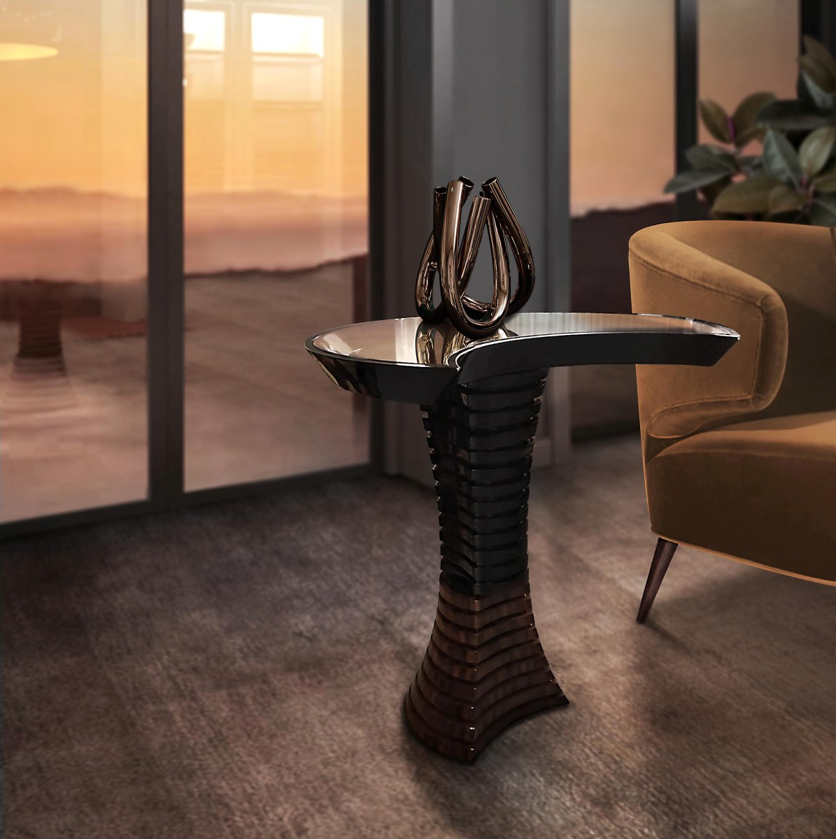 Volute Side Table by Malabar